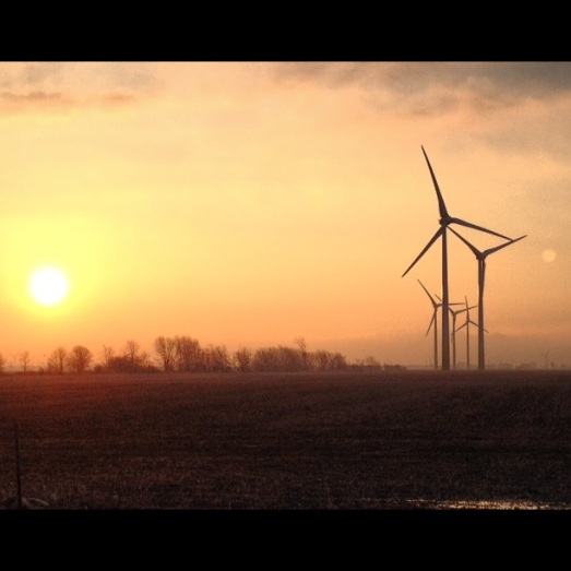Boralex Swanton Line turbines at sunrise, taken by me.